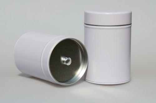 Gewürzdose mit zusätzlichem Innendeckel  groß leer weiß - 1 Stk